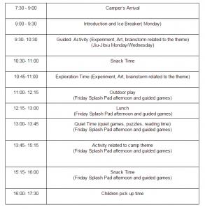 AcadeCamp outline schedule